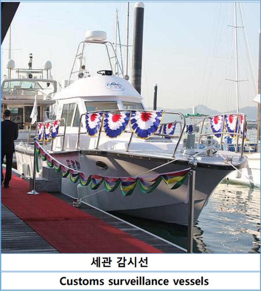 세관 감시선(Customs Surveillance vessels). 해안 경비선(Coast Guard Ship). 수륙 양용 순시선(Amphibious patrol Boat)